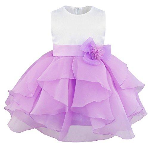 YiZYiF Blumenmädchenkleid mit Blume Brosche festlich Baby Mädchen Kleid Brautjungfernkleid Party Kleider Festzug (Lavendel, 62-68 (Herstellergröße:60)) (Prinzessin Lavendel Kostüme)