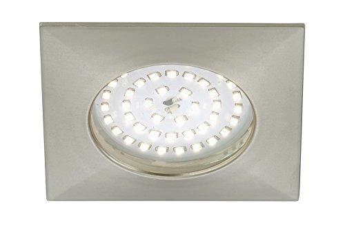 Foco LED empotrable, no necesita transformador, baja profundidad de montaje de tan solo 30 mm, diámetro de 100 mm, cuadrado, níquel mate, D: 100 mm 10.5|watts