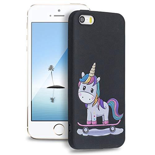 Huphant Silicona Funda iPhone 5S / iphone SE Cover, Parachoques Ultrafina Pintado de Ultra Delgado...