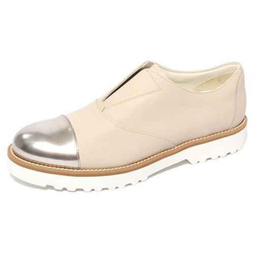 B0661 sneaker donna HOGAN ROUTE slip-on beige shoe woman beige/argento