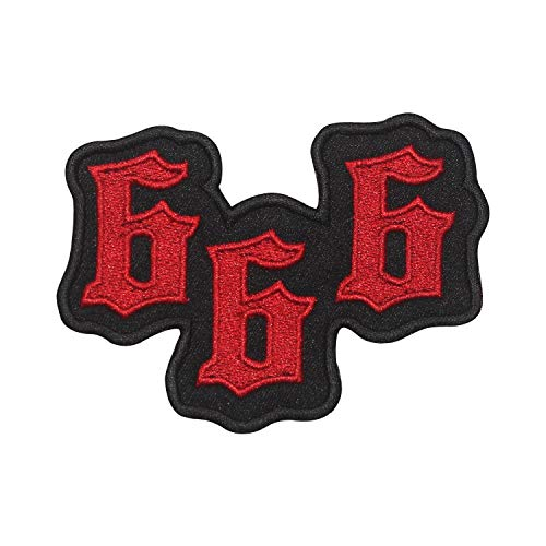 REAL EMPIRE 666 Aufnäher Teufel Horned One zum Aufbügeln Bestickt Fasching Kostüm T-Shirt Tasche Jacke ()