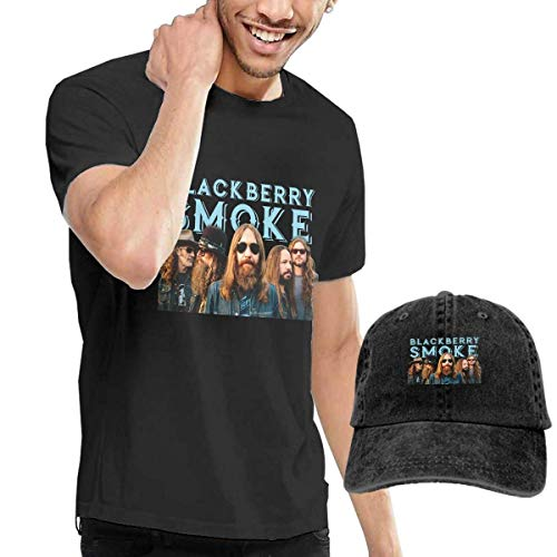 Baostic Herren Kurzarmshirt BlackBerry Smoke Tshirts Washed Denim Baseball Dad Hats Black -