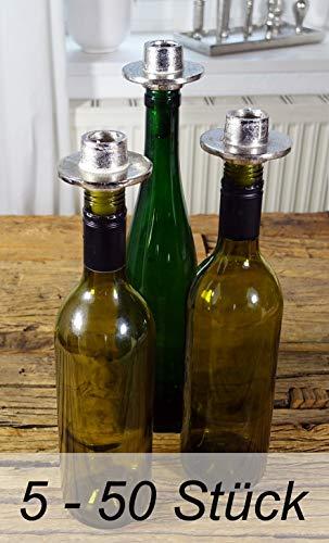 Michael Noll Kerzenhalter Bottle Flasche Weinflasche Aluminium Silber 5er Set / 10er Set / 20er Set / 50er Set (5)