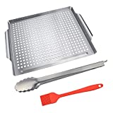 KALREDE BBQ Grill BasketStainless Steel Grill Pan for Grilling and Roasting Seafood and Vegetables Heavy Duty Food Tongs and Silicone BBQ Basting BrushBBQ Tool Accessories(3pcs)
