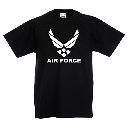 lepni.me Kinder Jungen/Mädchen T-Shirt United States Air Force (USAF) - U. S. Army, USA Armed Forces (5-6 Years Schwarz Weiß) (Force Kleinkinder Air T-shirt)