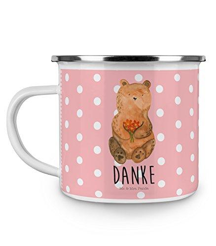 Mr. & Mrs. Panda Emaille Tasse Dankbär - 100% Handmade in Norddeutschland -, Danke, Becher,...