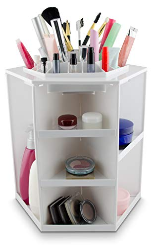 Grinscard Kosmetik Organizer Drehbar - Weiß 32 x 27 x 27 cm - Kosmetikständer Make-up Aufbewahrung...