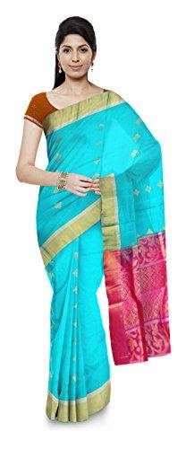 Kovil tex Kanchipuram Handloom Silk Saree for Women (Sky Blue)