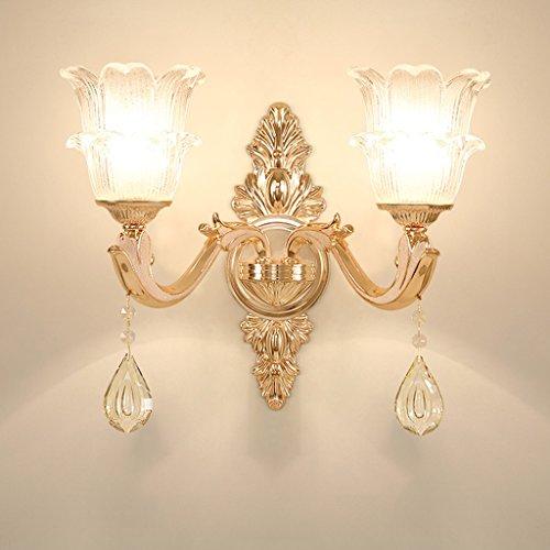 PLL Europäische Kristall Wandleuchte Luxus Atmospheric Wohnzimmer Gang Wandleuchte Nachttischlampe (Size : 2lamp) -
