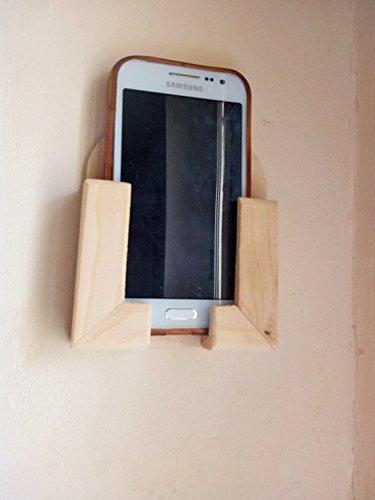 An der Wand befestigter Handy / Smartphone für Wand im rohes natürliches Holz - Abdeckung Natürliche
