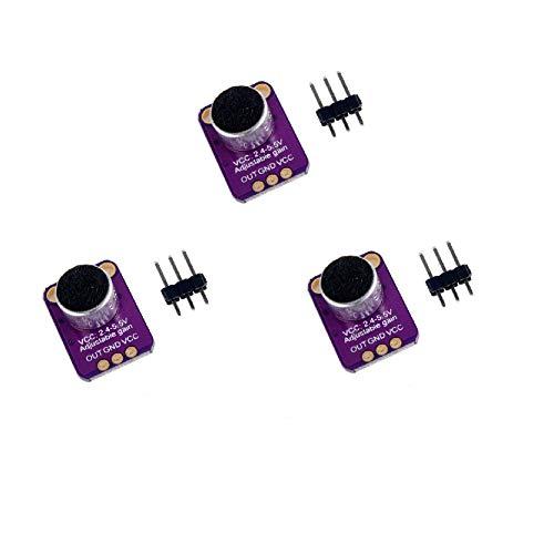 DollaTek 3Pcs Elektret Mikrofon Verstärker MAX4466 Modul Einstellbare Verstärkung Blau Breakout Board für Arduino