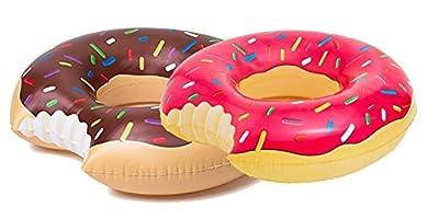 Beach Toy ® - Set de 2 Bouées géantes gonflable Donut ROSE et Donut MARRON, 120 CM diamètre, special Pool party en duo, ÉTÉ 2017