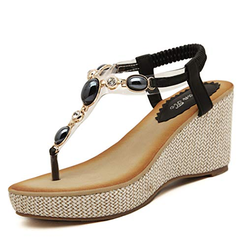 CRBHSH Frauenblumenplattform Thong Wedge Sandals, Bohemian Diamond Studded Toe Ladies Sandals Beach Shoes,Black,35 -