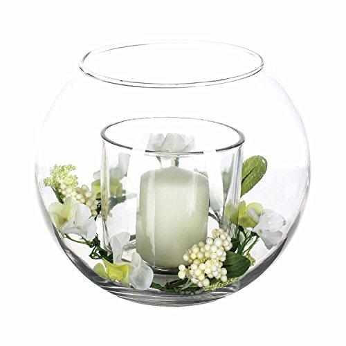 Newsbenessere.com 41%2BpQGAYj8L Composizione floreale artificiale e candela, colore: bianco