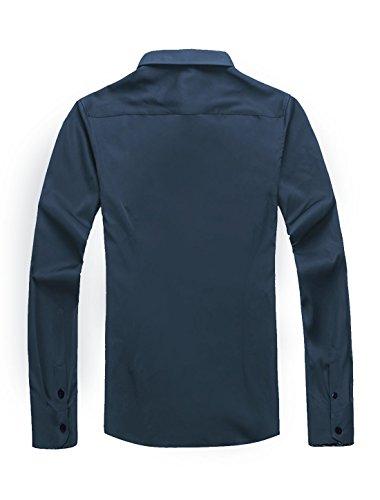 sourcingmap Pour Hommes Col Pointu Veste Droite Chemise Coupe Cintrée Pure-bleu