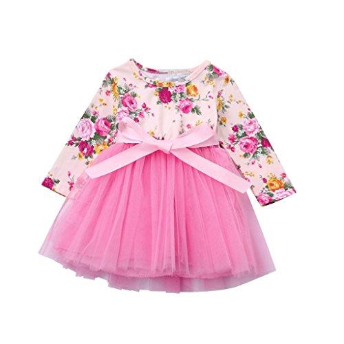 Kleinkinder Baby Mädchen Kleid Longra Blumenspitze Prinzessin Tutu Kleid Hochzeit Partykleid Taufkleid Tüll Festzug (Pink, 110CM - Halloween-kostüme Trikot