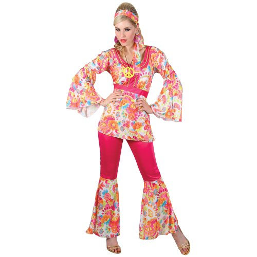 HIPPIE HONEY LADIES COSTUME FANCY DRESS UP (1980 Dress Up)