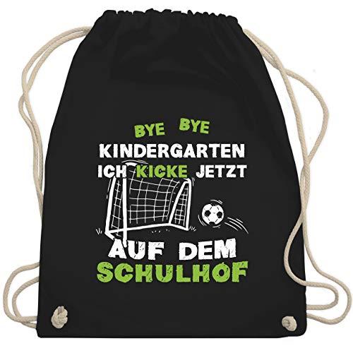 Einschulung und Schulanfang - Bye Bye Kindergarten Einschulung Fußball - Unisize - Schwarz - WM110 - Turnbeutel & Gym Bag (Hoch Fußballtor Wie Ein Ist)