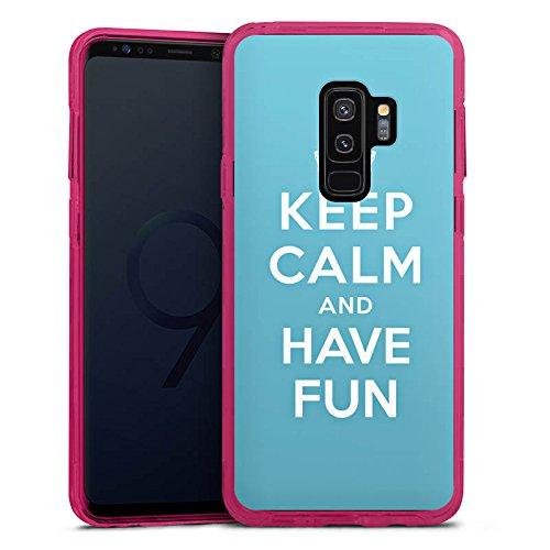 DeinDesign Samsung Galaxy S9 Plus Bumper Hülle transparent pink Bumper Case Schutzhülle Keep Calm Fun Phrase