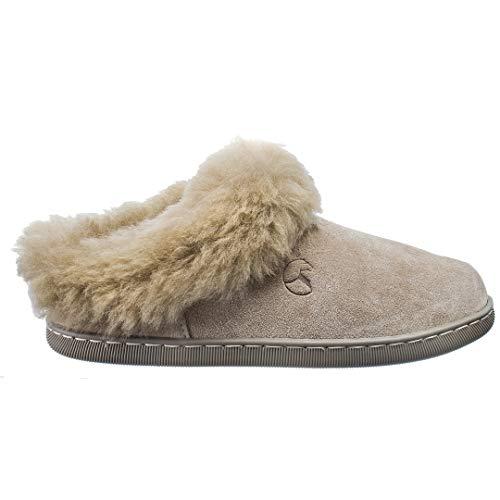 Estro Damen Hausschuhe Pantoffeln Damen mit Wolle Wärme Leder Winter Lammfellhausschuhe AMIE (40, Beige)
