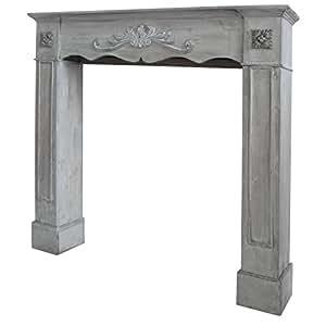 deko kaminumrandung romantik 102x105 cm antik grau im landhausstil kamin rahmen. Black Bedroom Furniture Sets. Home Design Ideas