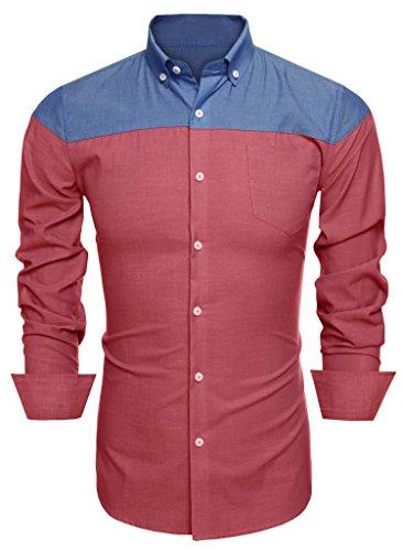Aulei herren hemd langarm slim fit tailliert casual Freizeitbekleidung zweifarbiges Freizeithemd