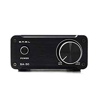 Gemtune SMSL SA-50 Hi-Fi Stereo Amplifier for speakers with Power Adapter (Black)