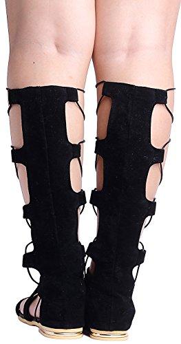 Odema Femme decoupe a hauteur du genou de bottes de plats de sandales gladiateur string 4-noir