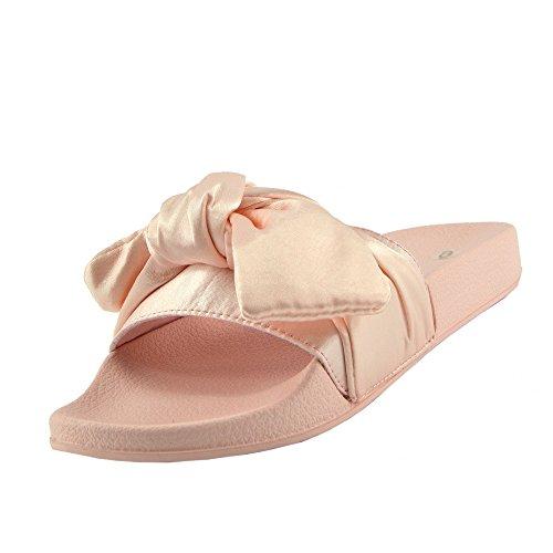 Womens Fashion Damen Licht Flip-Flops Bequemen Slip auf Sommer-Strand-Sandalen Pink Satin