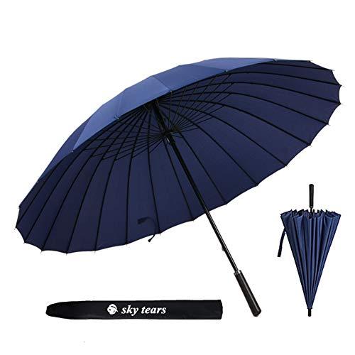 Ombrello antivento, grande ombrello aperto 24 costole ultra forte bastone ombrello con manico in pelle abbastanza duraturo pioggia ombrello viaggio