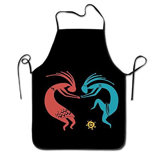fengxutongxue Unisex Kokopelli Dance Indian Kitchen Aprons