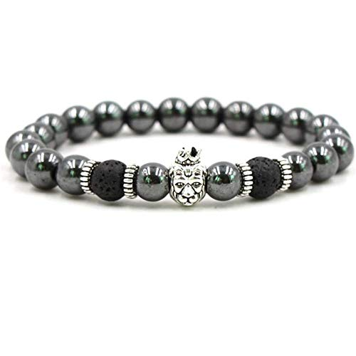 Armband Armreif,Schmuck Geschenk,Hot Fashion Lion Head Bracelet Men Jewelry Classic 8Mm Hematite Natural Stone Beaded Charm Bracelets for Men Pulsera Hombre Gift
