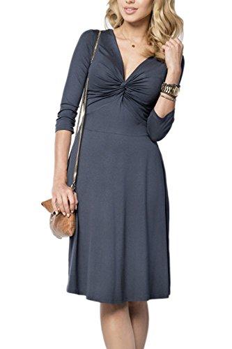 Sexy col v profond ruché Swing Party Dress des femmes Darkblue
