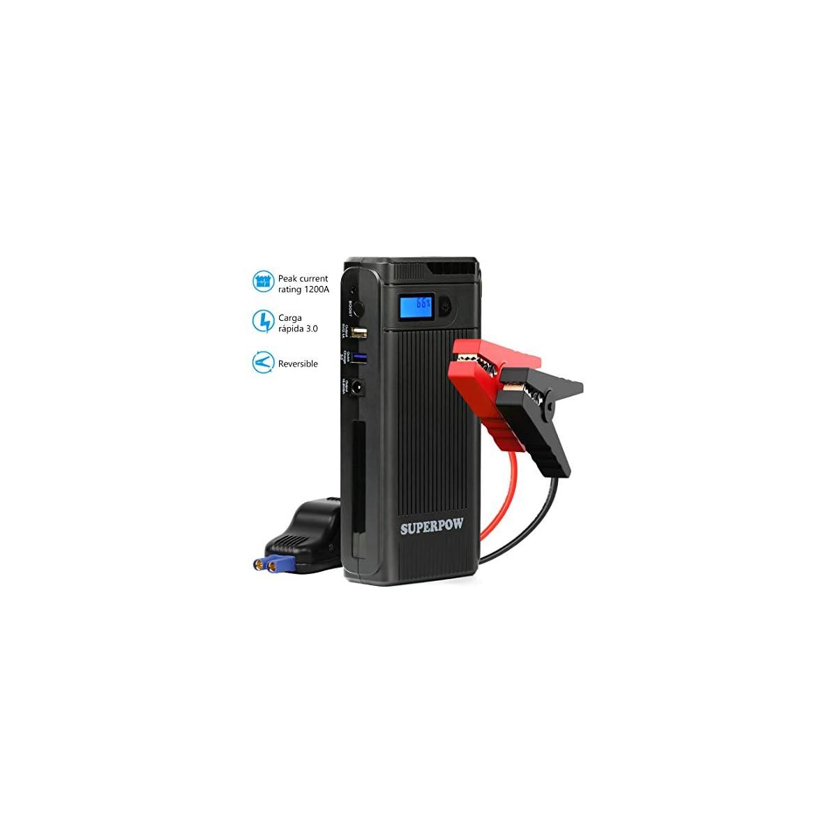 41%2BpV3RTL3L. SS1200  - Superpow Jump Starter 8000mAh, 300A Batería Arrancador de Coche (Arranque Kit para Coche, Batería Externa Portátil, Pinzas Inteligentes, LED, USB Puertos) para Emergencia Smartphones
