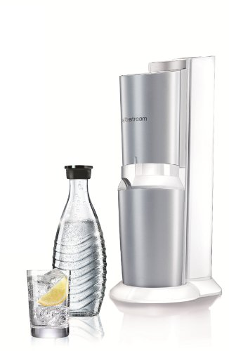 sodastream water whirlpool Crystal (with 1 x CO2 cylinder 60L and 1 x 0,6L glass carafe), premium white, Plastic, White…
