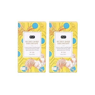 P & T Hunky Dory Breakfast, Daily Box Twin Pack, Master Blend de Thé Noir Bio en Vrac, Mélange de Thé Noir pour la Petit-Déjeuner, 2 Daily Box (100g / 3,5oz)