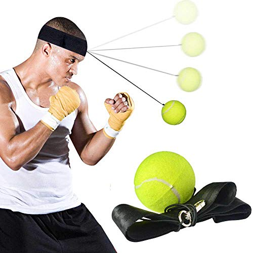 FOONEE Fight Ball Reflex, Boxing Ball, Más Suave Que La Pelota De Goma, Equipo De Boxeo, Entrenador para Entrenamiento Y Ejercicio, Cinta De Cabeza De Boxeo con Cuerda Y Pelota De Tenis De Boxeo