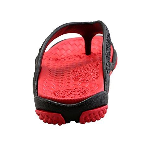 BAINASIQI Herren Zehentrenner Sommer Schuhe Outdoor Strand Latschen Freizeit Flip Flops Pantoletten Ultralight Rutschfest Slipper Badeschuhe Schwarz-Rot