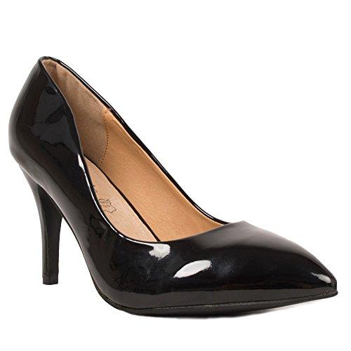 Primtex Escarpins vernis noir pointus Grandes Pointures femme 41,42,43,44 avec semelle intérieure cuir-42