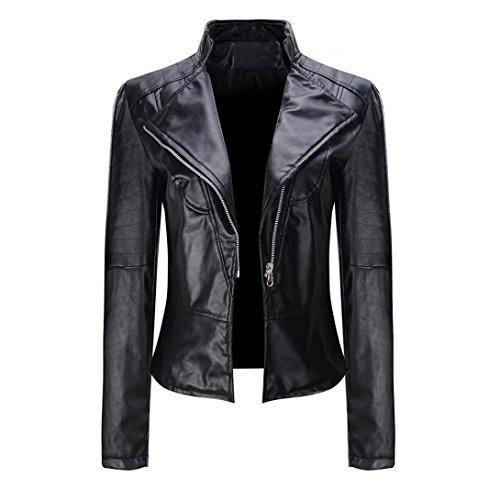 Xiahbong Damen kurze Revers Lederjacke Parka Reißverschluss Mantel Outwear, S-XXXL (XL, Schwarz) (Leder Baseball Hülse Jacke)