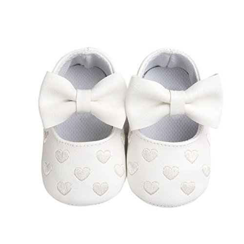 Brightup Baby Mädchen Prewalker Sweet Love Herz Bowknot Anti-Rutsch Soft Sole Leder Schuhe Weiß