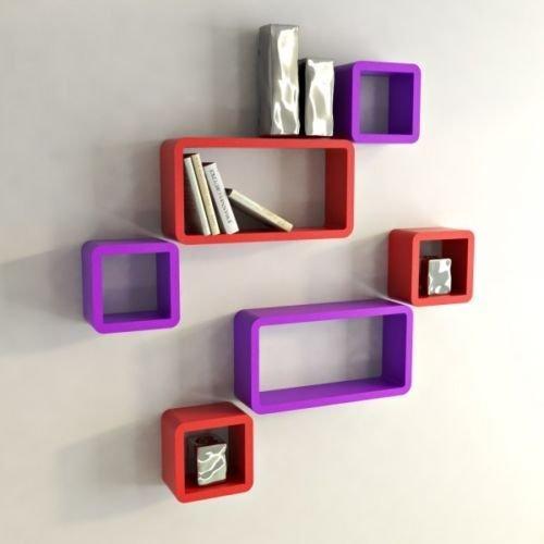 USHA Furniture Wall Shelf Set of Six Designer Wall Rack Shelves-Red&Purple