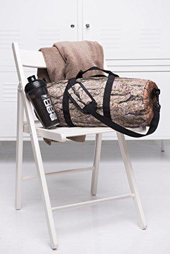 Kleine runde Sport-Tasche für Damen Herren und Kinder | Stylisch bedruckter Gym Bag in verschiedenen Mustern | Umhängetasche als Fussball-Tasche für Jungen und Mädchen | Duffle Bag Barrel Bag Fitness- Log