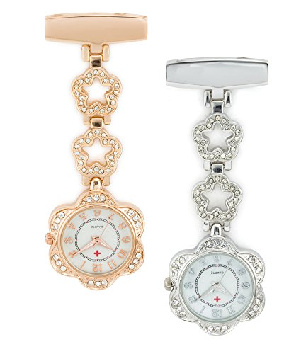 SEWOR Medical Staff Hanging Pocket Watch 2pcs with Leather Box Great Gift (Flower)