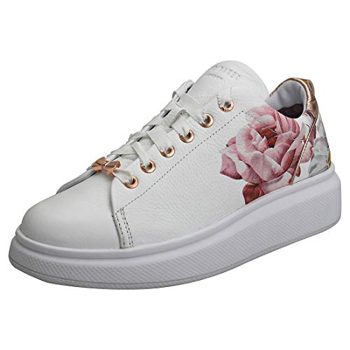 6febb6681493 Ted Baker Women s Ailbe 2 Platform Leather Lace Up Trainer  White Iguazu-White-