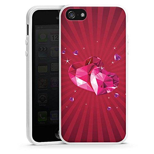 Apple iPhone 4 Housse Étui Silicone Coque Protection C½ur Amour Amour Housse en silicone blanc