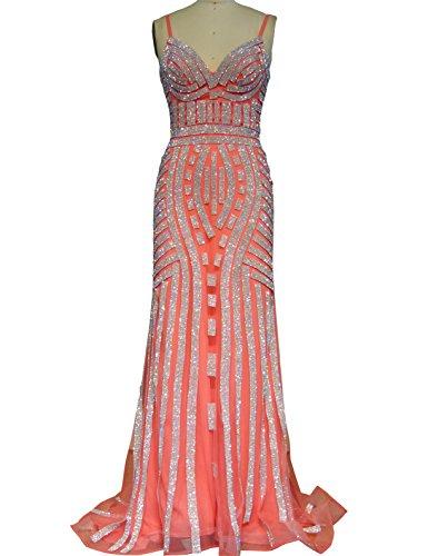 Changjie Damen Meerjungfrau T¨¹ll Rhinestone Lang Ballkleider Abendkleider Abschlussballkleid Parteikleid Frauen Kleider Coral