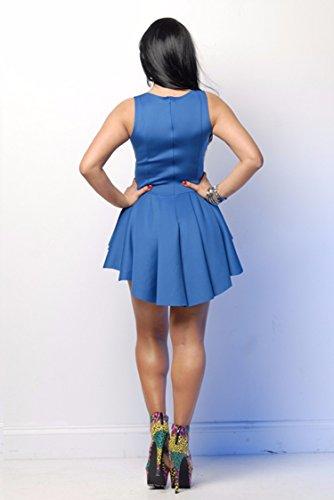 Qiyun 3008s0388–Robe pour femme Bleu