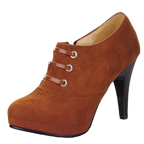Mee Shoes Damen elegant modern bequem Reißverschluss Trichterabsatz runder toe Nubukleder Geschlossen Plateau Pumps Braun