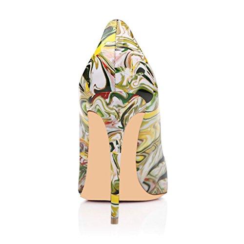 Onlymaker Damenschuhe Pumps Stiletto High Heels klassisch Mehrfarbig Party Print